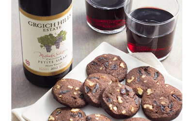 Chocolate Shortbread Cookies with Dried Cherries and Walnuts